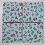 4 Ceramic Coasters in Cath Kidston Highgate Ditsy Rose Blue